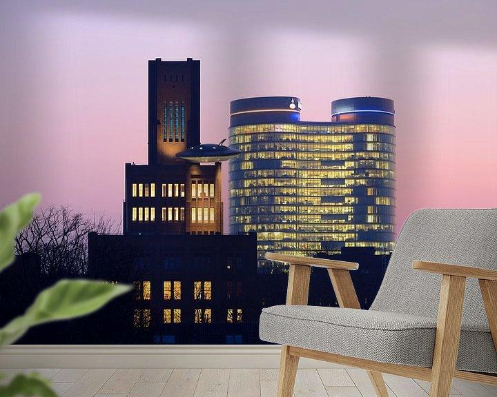 Sfeerimpressie behang: De Inktpot en de Rabotoren in Utrecht van Donker Utrecht