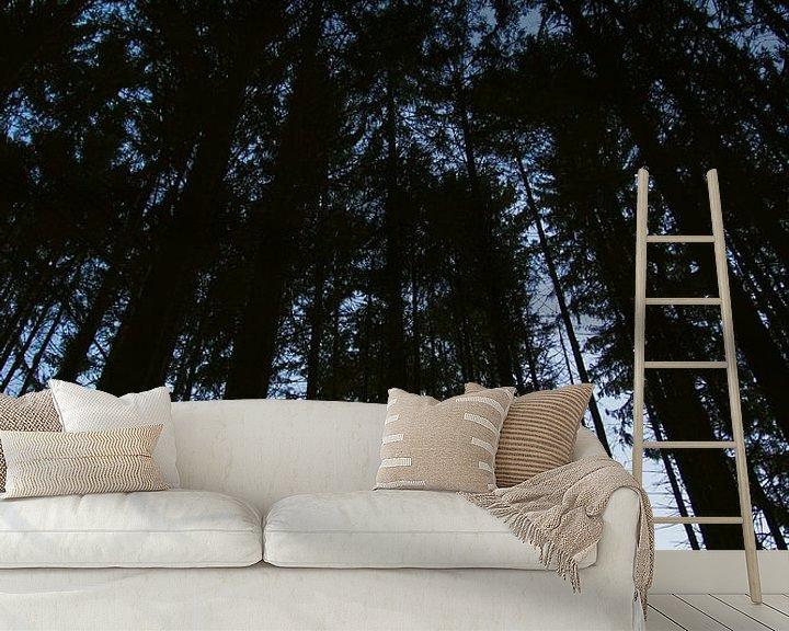 Sfeerimpressie behang: Hoge bomen in de Vogezen van Jeanine Verbraak