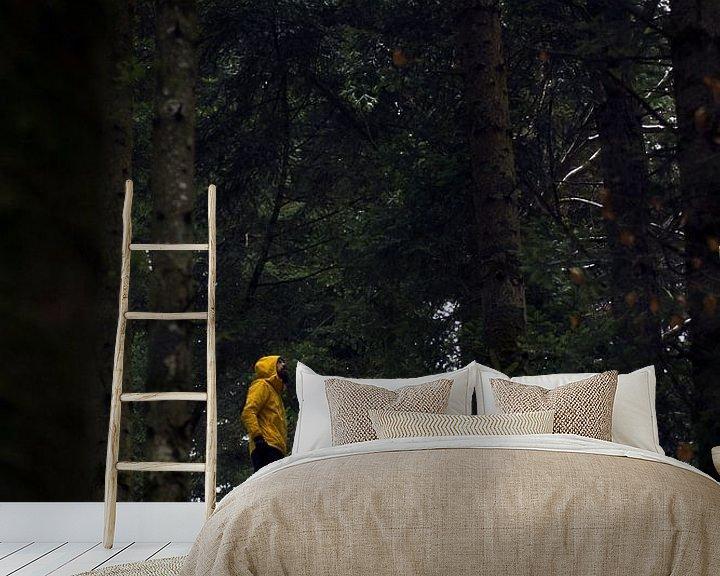 Sfeerimpressie behang: Rots als uitkijktoren in de bossen van de Vogezen van Jeanine Verbraak
