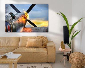 Spitfire mit Flammen