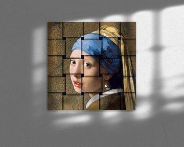 Meisje met de parel - vlechtwerk groot van Lia Morcus