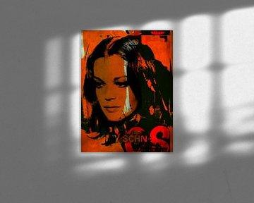Romy Schneider Plakative Collage - Vintage Orange van Felix von Altersheim