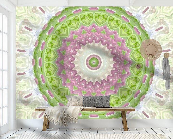 Sfeerimpressie behang: Mandala-stijl 1 van Marion Tenbergen