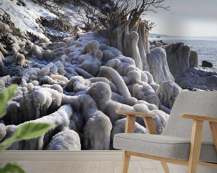 Beispiel fototapete: Gefrorener Strand – Steilküste Hohes Ufer, Ahrenshoop, Darß von Jörg Hausmann