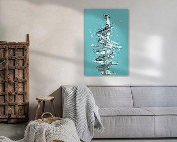 Grafische kunst GIDS | turquoise van Melanie Viola
