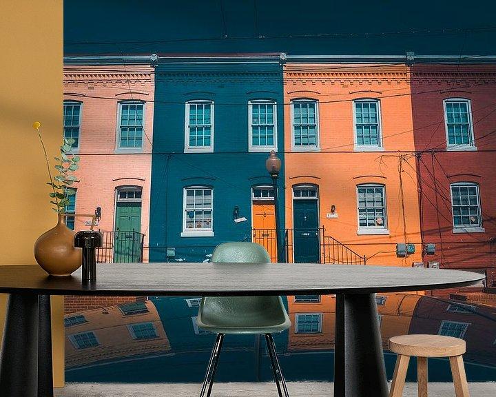 Sfeerimpressie behang: Reflectie in Georgetown Washington DC van Yannick Karnas