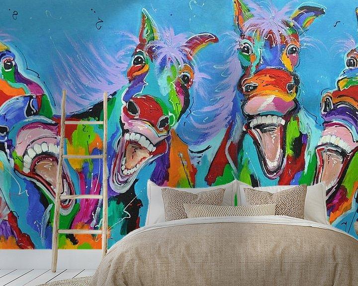 Beispiel fototapete: -Pferde mit Humor von Kunstenares Mir Mirthe Kolkman van der Klip