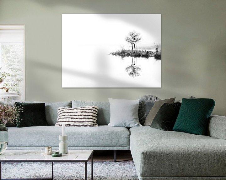 Sfeerimpressie: Twin trees,  again (zwart wit) van Lex Schulte