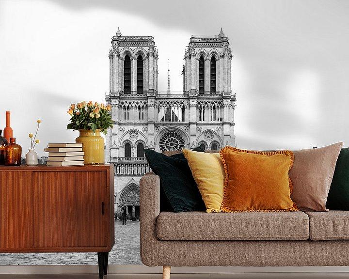 Sfeerimpressie behang: Notre-Dame Parijs - 5 van Damien Franscoise