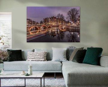 Keizersgracht Amsterdam tijdens de avond. van Dennisart Fotografie