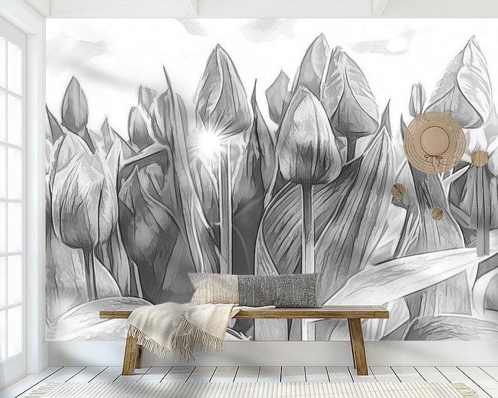 Sfeerimpressie behang: Tulpen van eric van der eijk