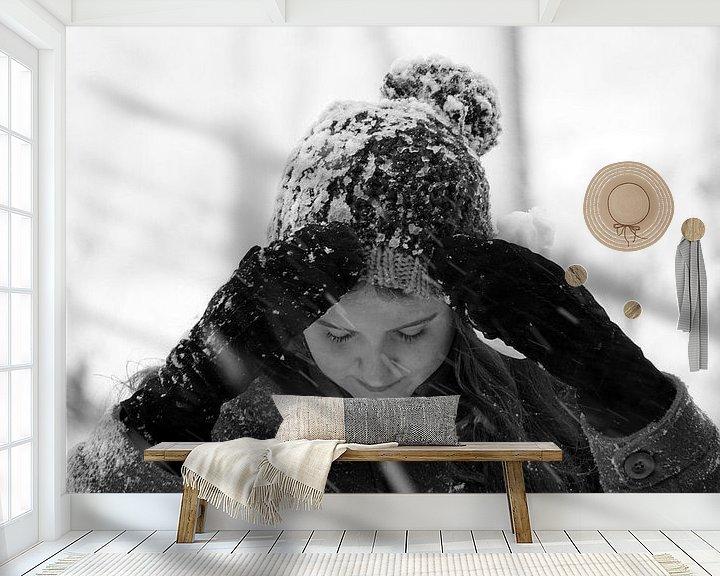 Sfeerimpressie behang: Sneeuw van Ineke Klaassen