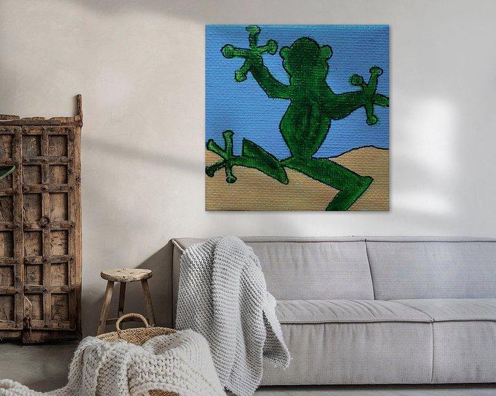 Sfeerimpressie: Mini-canvas Kikker van Angelique van 't Riet