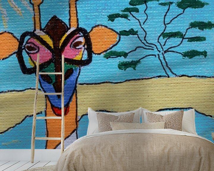 Sfeerimpressie behang: Mini-canvas Giraffe met bril van Angelique van 't Riet