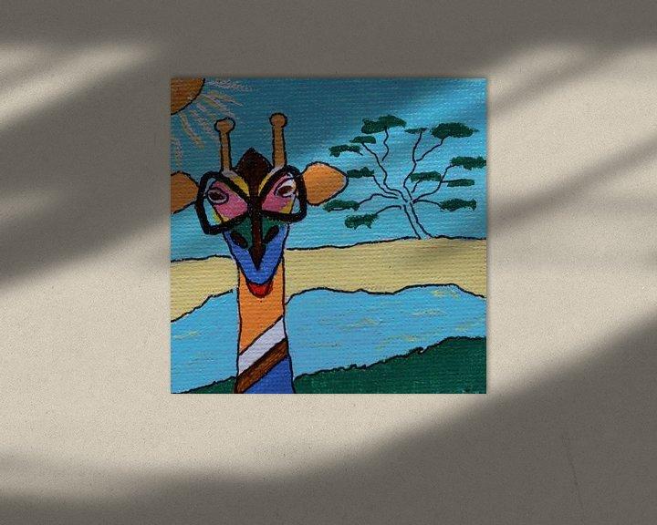 Sfeerimpressie: Mini-canvas Giraffe met bril van Angelique van 't Riet