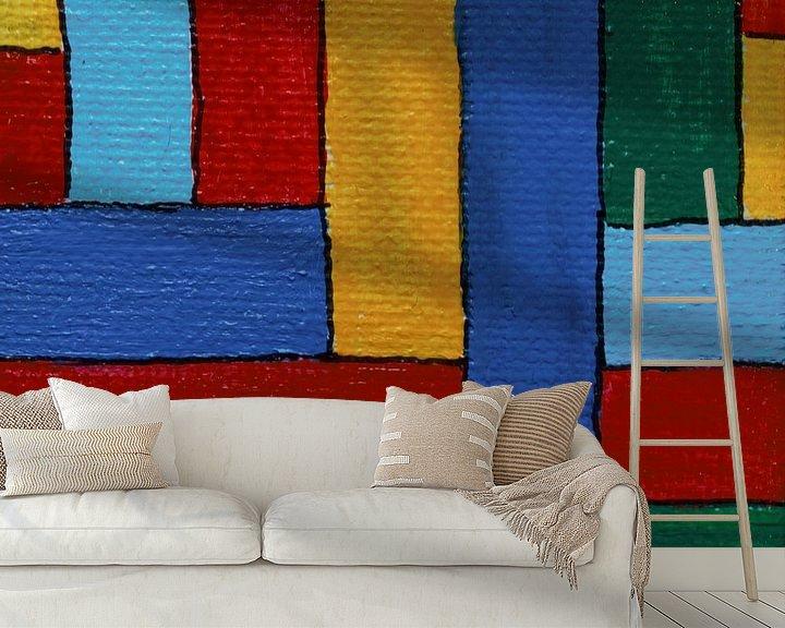Sfeerimpressie behang: Mini-canvas strepen van Angelique van 't Riet