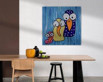Mini-canvas vogelfamilie