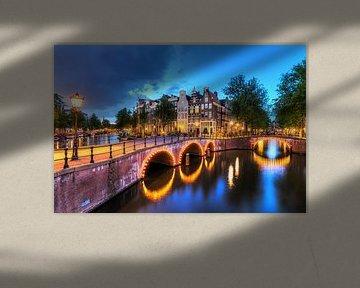 Keizergracht in de avond met verlichting von Dennis van de Water
