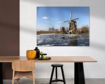 Zijllaan moulin Leiderdorp en hiver avec de la glace