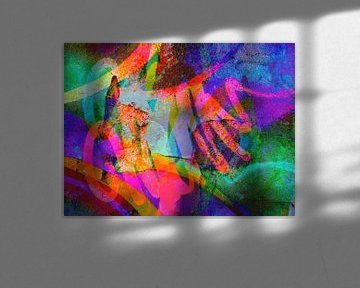 Modernes, abstraktes digitales Kunstwerk - Gehen im Neonhimmel von Art By Dominic