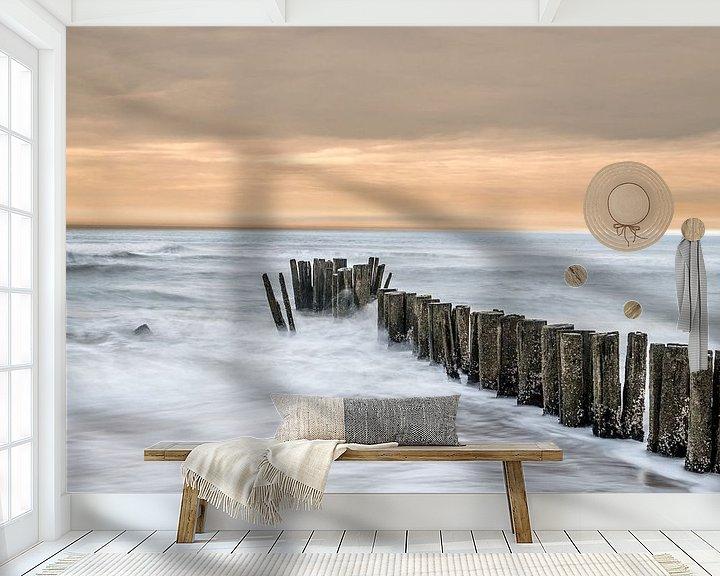 Sfeerimpressie behang: Golfbreker aan de Nederlandse kust van Gerry van Roosmalen