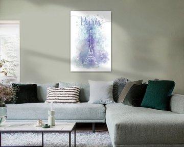 De tekst art eiffeltoren aquarel   paars en turquoise van Melanie Viola