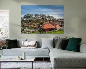 Zicht op het Friese dijkdorp Paesens Moddergat von Harrie Muis