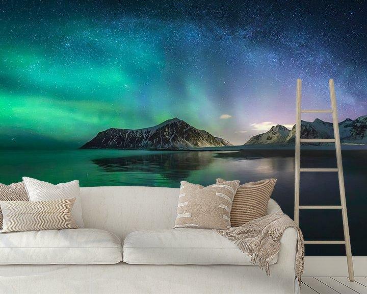 Beispiel fototapete: Nordlichter und Milchstraße von Sven Broeckx