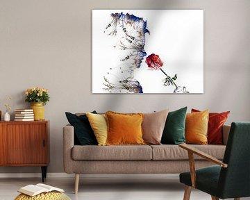 Bloem. Ruiken aan een roos. Modern en abstract. Witte achtergrond. von Erik Bertels