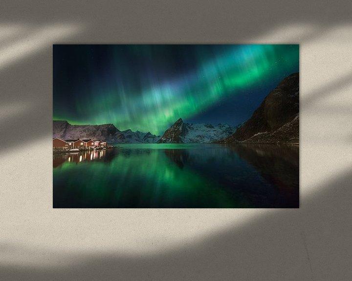 Impression: Noorderlicht in Hamnoy (Lofoten). sur Sven Broeckx