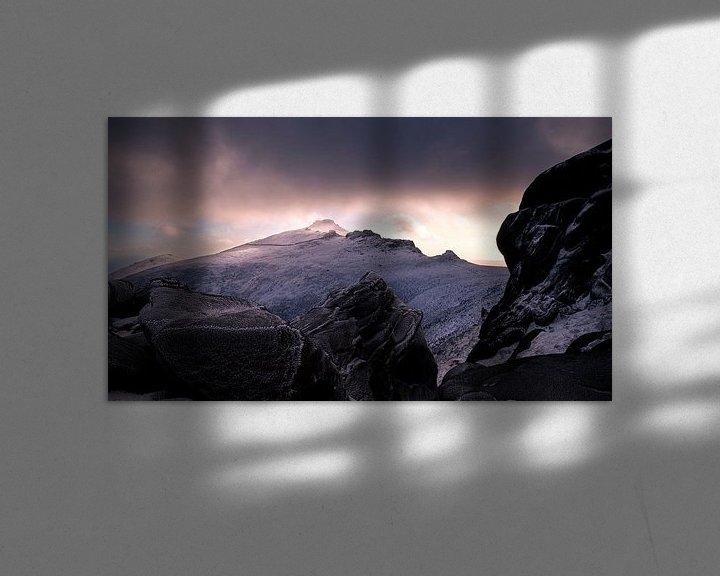 Sfeerimpressie: Zonsondergang op Slieve Binnian van Maaike van Tol