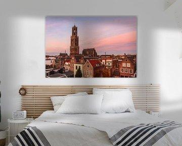 Dom van Utrecht bij avondrood van Juriaan Wossink