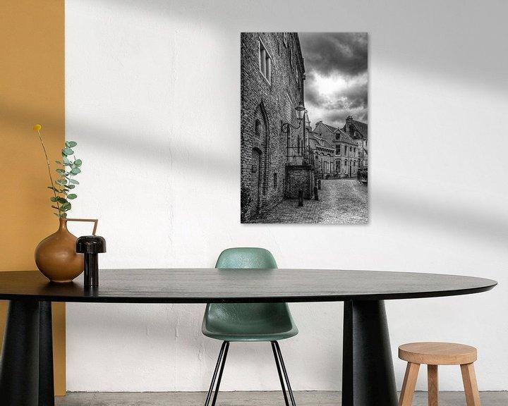 Sfeerimpressie: Muurhuizen historisch Amersfoort in zwartwit van Watze D. de Haan