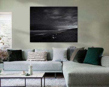 Nachtopnamen van het strand van Heemskerk van Paul Beentjes
