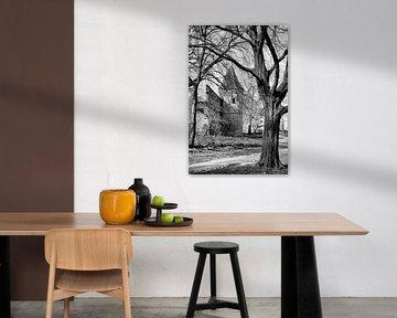 Stadsmuur Achter de Kamp historisch Amersfoort zwartwit von Watze D. de Haan