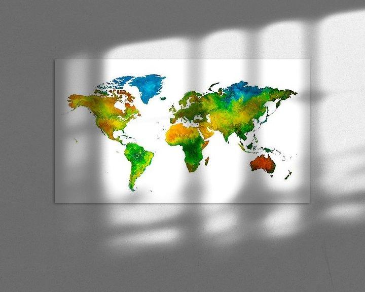 Impression: Carte du monde en Aquarelle | Peinture sur Wereldkaarten.Shop