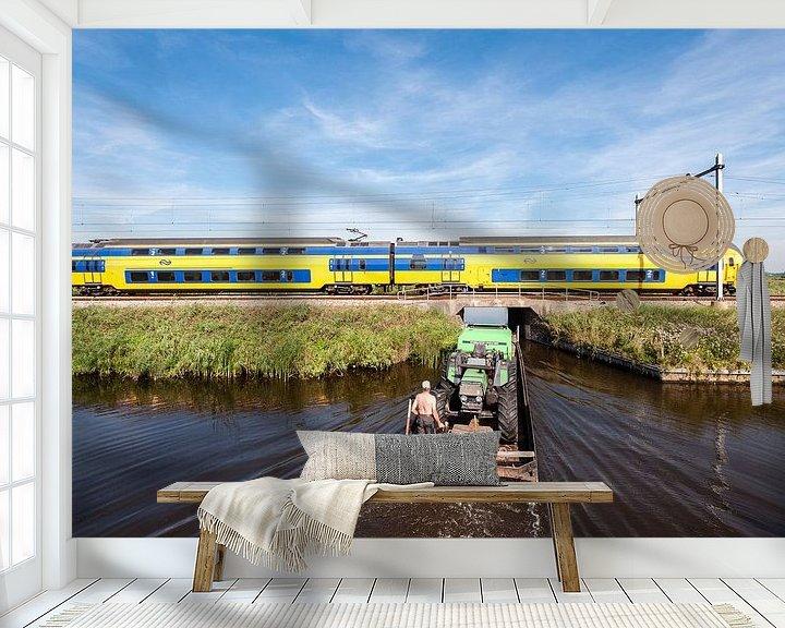 Sfeerimpressie behang: De trein in het Nederlandse landschap: Oostzaan van John Verbruggen