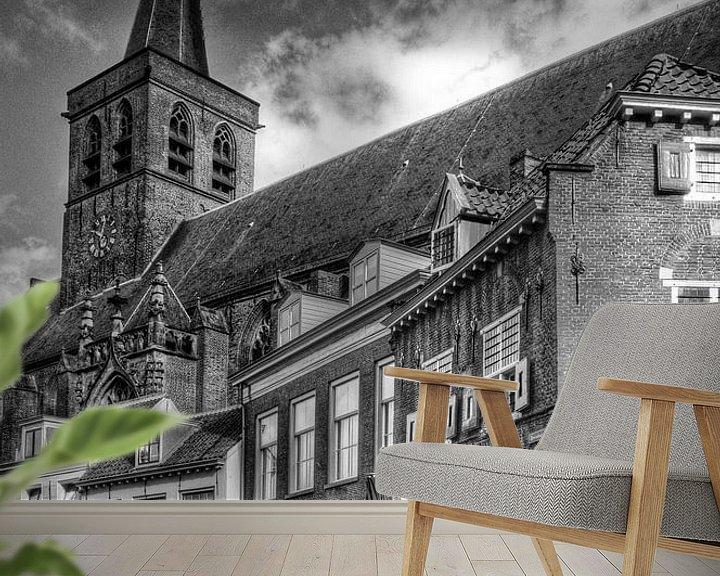 Sfeerimpressie behang: Stadscafé In den Groote Slock historisch Amersfoort zwartwit van Watze D. de Haan