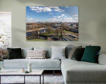 Die Skyline von Rotterdam von der Van Nelle Fabrik von MS Fotografie | Marc van der Stelt