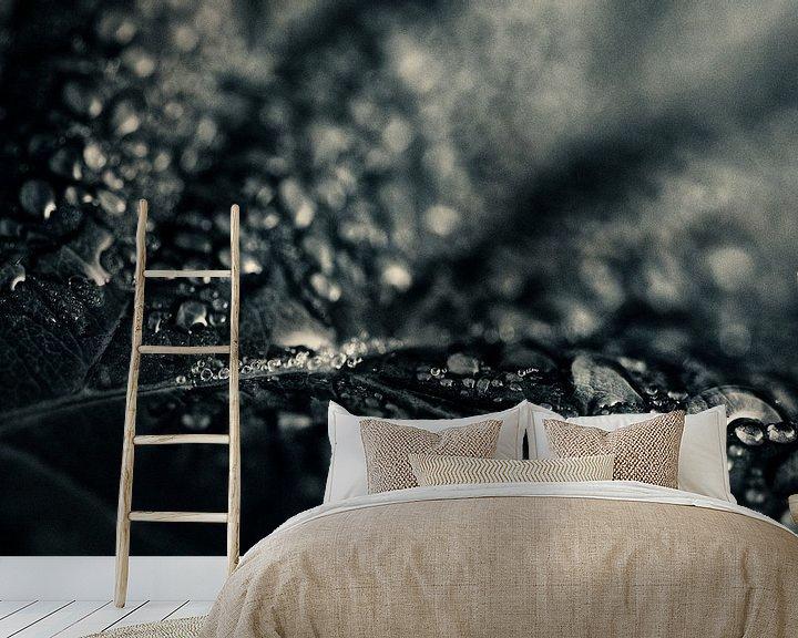Sfeerimpressie behang: Druppels op blad van Klaartje Huijben