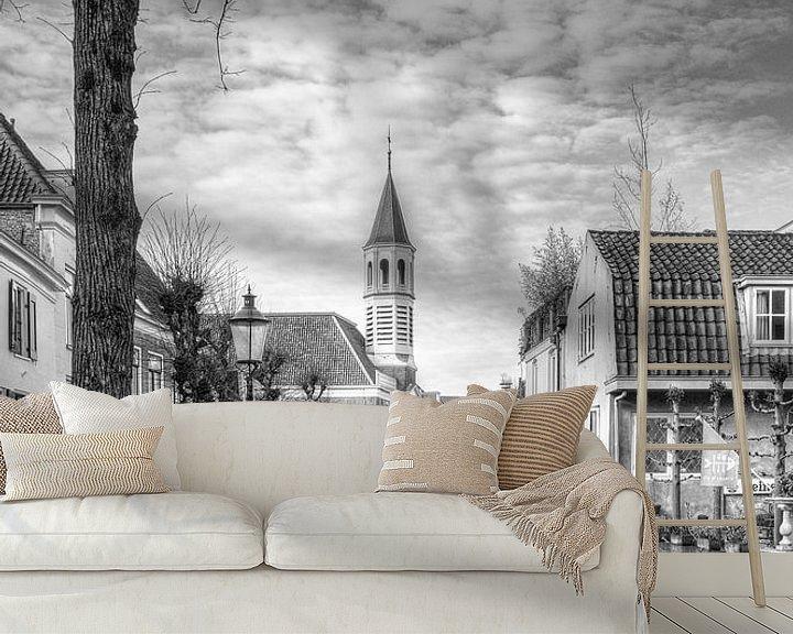 Sfeerimpressie behang: Elleboogkerk en Langegracht historisch Amersfoort van Watze D. de Haan