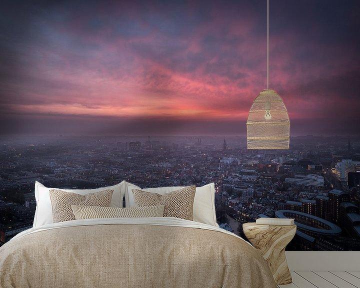 Sfeerimpressie behang: Aerial view, skyline en overzichtsfoto van Den Haag. van Original Mostert Photography