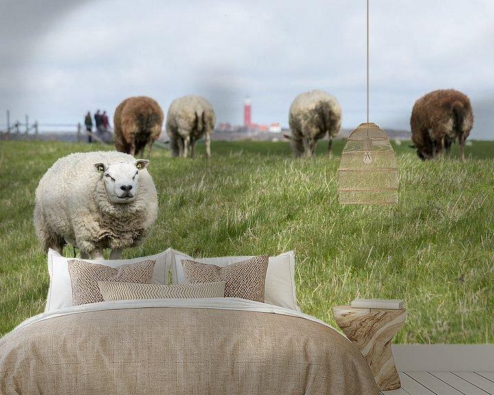 Impression: Sheeps near Lighthouse. sur Nicole van As