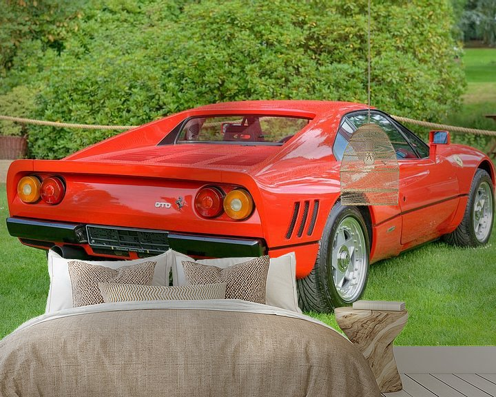 Sfeerimpressie behang: Ferrari 288 GTO raceauto uit de jaren 80 in Ferrari rood van Sjoerd van der Wal
