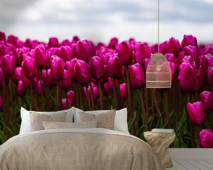 Sfeerimpressie behang: Nederlandse Tulpen van Sjoerd Tullenaar