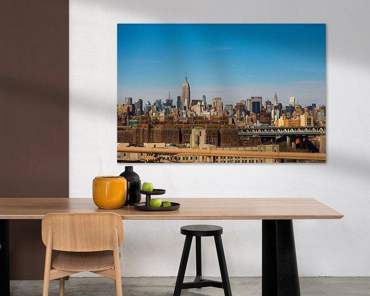 Sfeerimpressie: Manhattan skyline vanaf Brooklyn bridge van Sjoerd Tullenaar