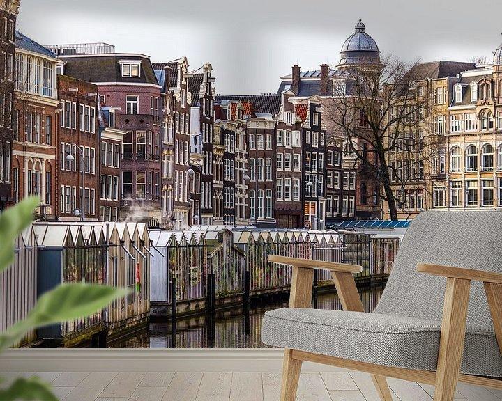 Sfeerimpressie behang: Amsterdam Bloemenmarkt van Sjoerd Tullenaar