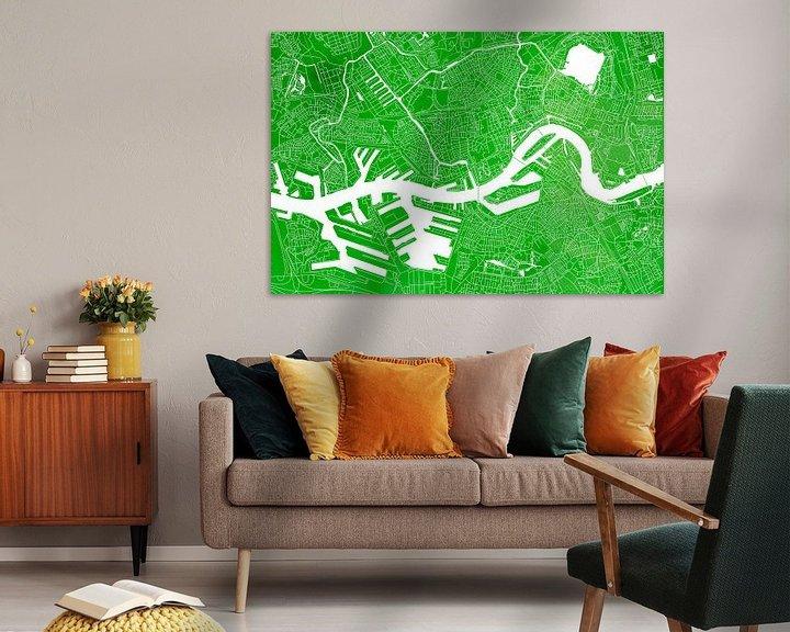 Sfeerimpressie: Rotterdam Stadskaart | Groene Aquarel van Wereldkaarten.Shop