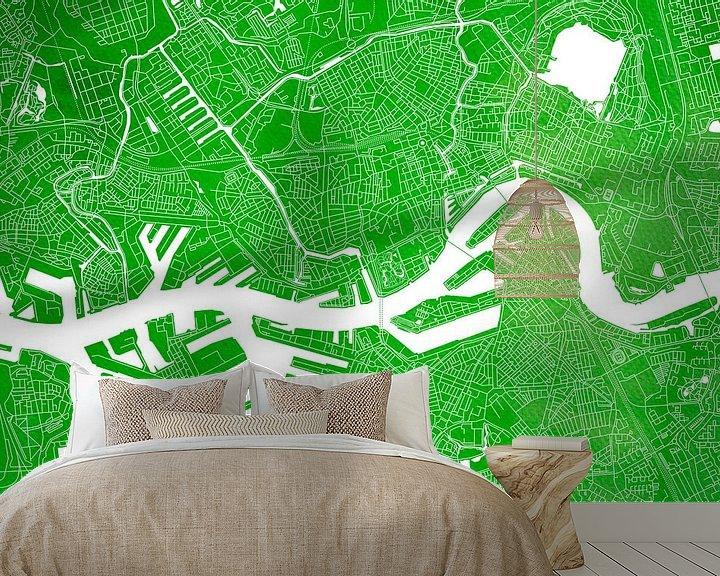 Sfeerimpressie behang: Rotterdam Stadskaart | Groene Aquarel van Wereldkaarten.Shop