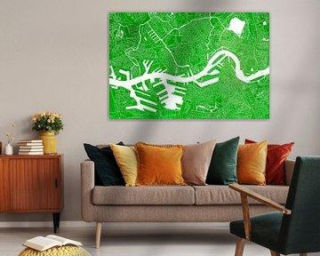 Plan de la ville de Rotterdam | Aquarelle verte sur Wereldkaarten.Shop